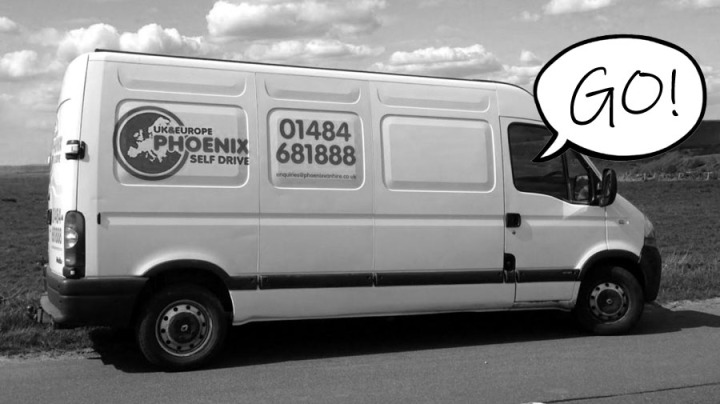 """A picture of a self-drive van with a speech bubble reading """"go"""""""