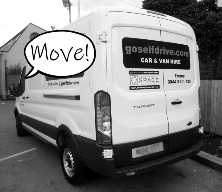 """A picture of a self-drive van with a speech bubble reading """"move"""""""