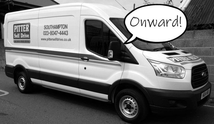 "A picture of a self-drive van with a speech bubble reading ""onward"""