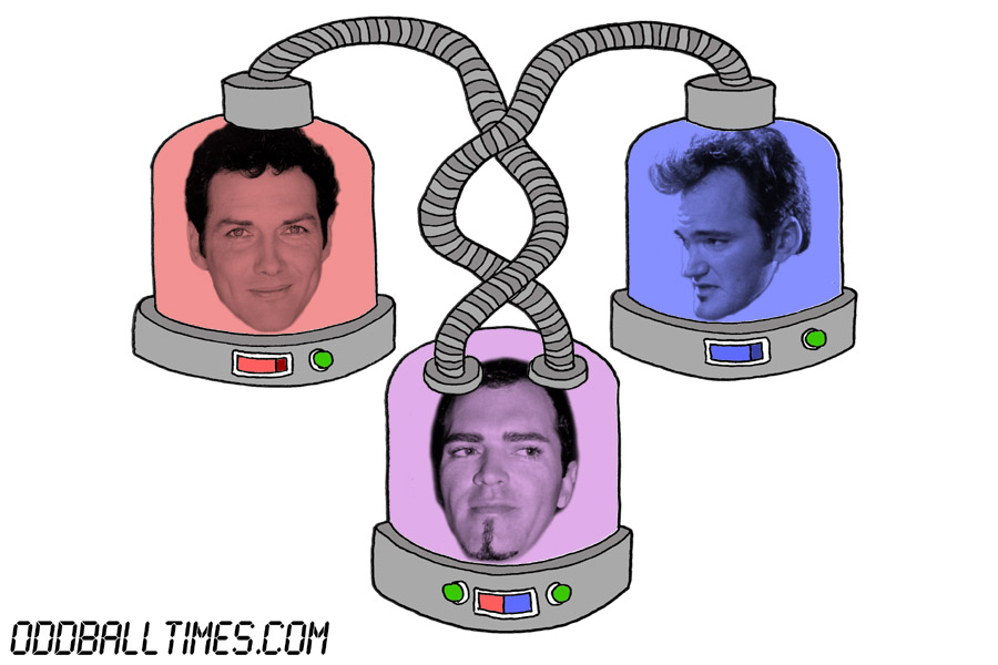 A cartoon of three pods with Christopher Ciccone, Norm Macdonald, and Quentin Tarantino's heads in them. By Oddball Times