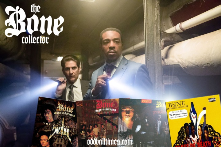 Russell Hornsby as Lincoln Rhyme in Hunt For The Bone Collector searching for Bone Thugs-N-Harmony albums