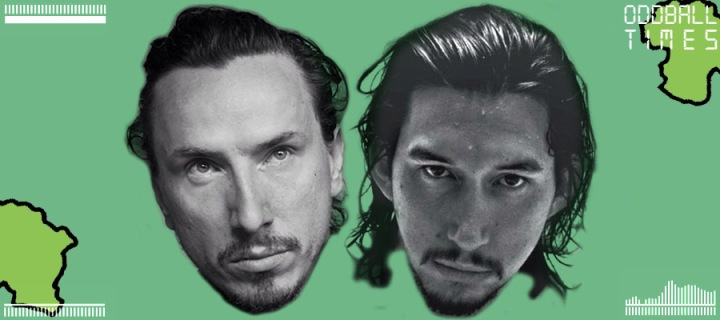 An image of Michael Traynor and Adam Driver under a microscope