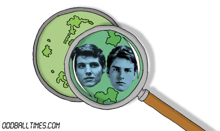 A cartoon of a Petri dish with Tom Cruise and Jess Conrad inside. By Oddball Times