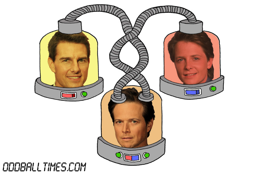 A cartoon of three pods with Tom Cruise, Michael J. Fox, and Scott Wolf's heads in them. By Oddball Times