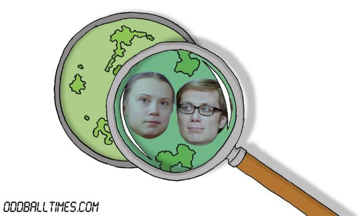 A cartoon of a Petri dish with Greta Thunberg and Stephen Merchant inside. By Oddball Times