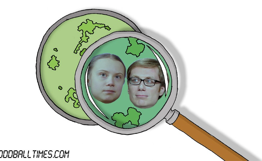 A cartoon of a Petri dish with Greta Thunberg and Stephen Merchant inside. By Oddball Times