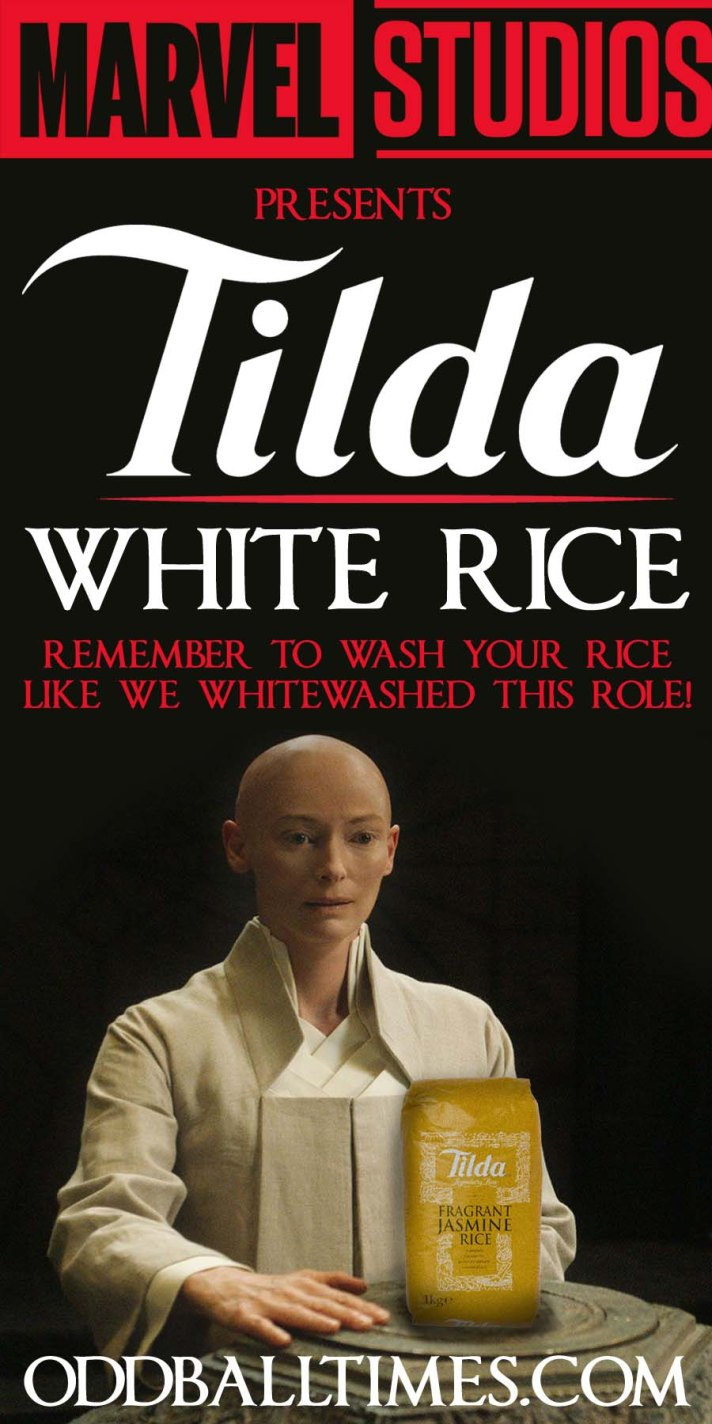 A mock advertisement for Tilda Rice highlighting whitewashing in Hollywood movie casting