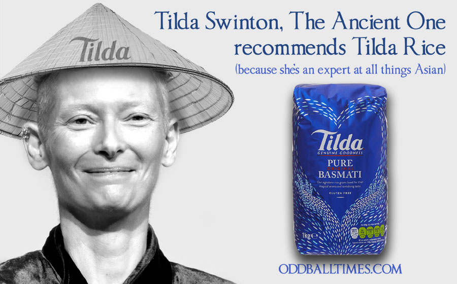An advert for Tilda Rice with Tilda Swinton as The Ancient One from Doctor Strange. By Oddball Times