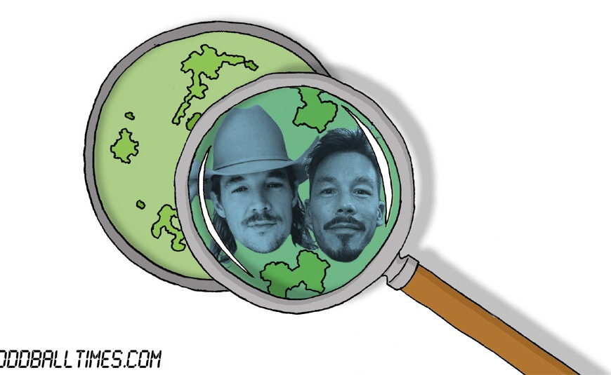 A cartoon of a Petri dish with Diplo and David Bromstad inside. By Oddball Times