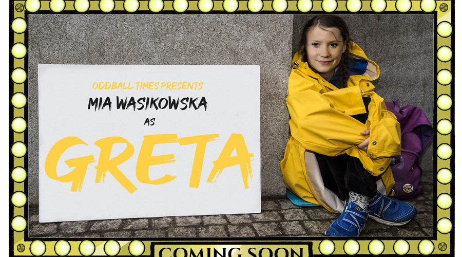 A poster for a Greta Thunberg action thriller starring Mia Wasikowska by Oddball Times