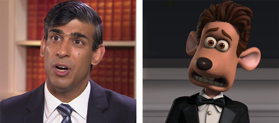 A side by side image of Rishi Sunak and Roddy from Flushed Away