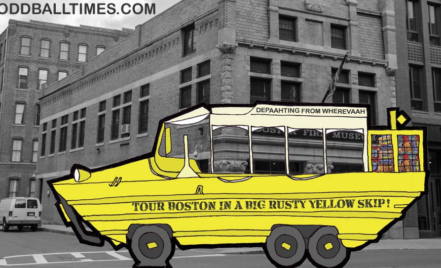A cartoon of a WWII style amphibious vehicle touring boston MA