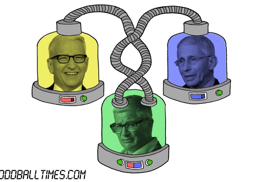 A cartoon of three pods with Anderson Cooper, Doctor Anthony Fauci, and Abby McEnany's heads in them. By Oddball Times