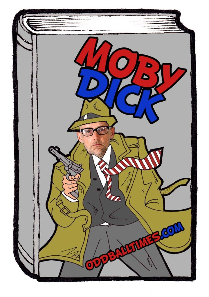 Musician Moby as a detective. Book cover illustration for Moby Dick or The Whale 1851 novel by Herman Melville