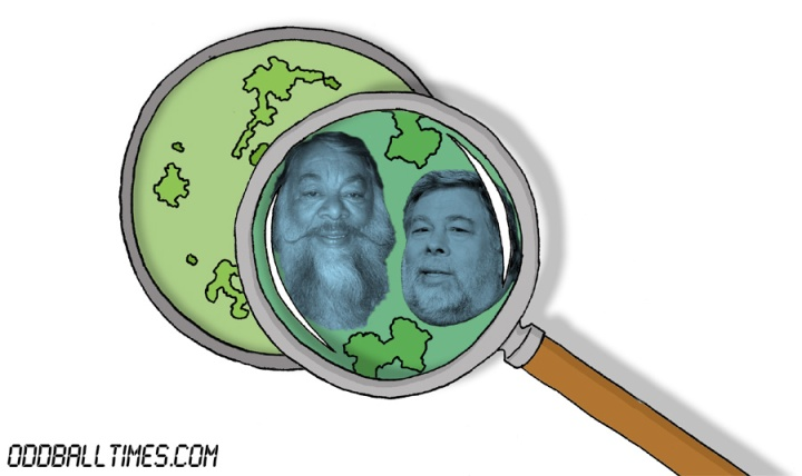 A cartoon of a Petri dish with Sergio Calderon and Steve Wozniak inside. By Oddball Times