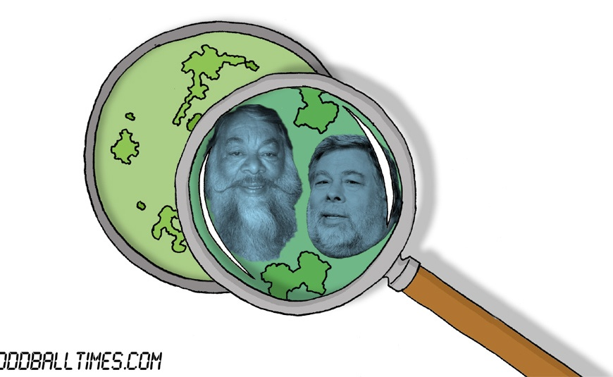 A cartoon of a Petri dish with Sergio Calderon and Steve Wozniak inside. By Oddball Times