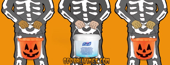 A cartoon image of three trick or treaters holding buckets and antibacterial wipes