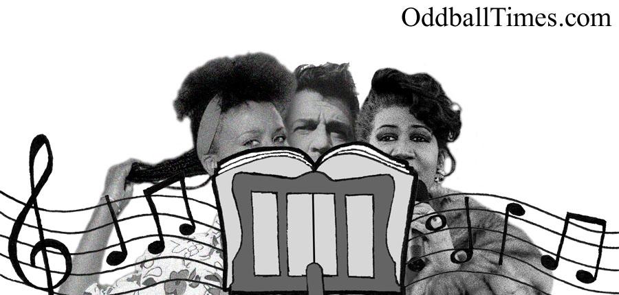 Dawn Mitchell, DJ Gianfranco Bortolotti and Aretha Franklin hiding behind a music stand. By Oddball Times