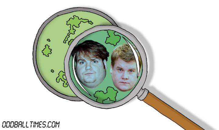 A cartoon of a Petri dish with Chris Farley and James Corden inside. By Oddball Times