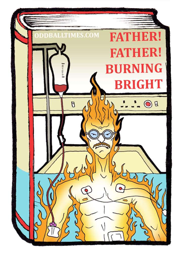A book cover design for story Father! Father! Burning Bright by Alan Bennett