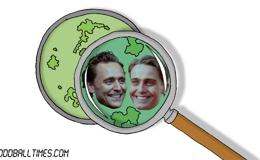 A cartoon of a Petri dish with Tom Hiddleston and Barney Walsh inside. By Oddball Times