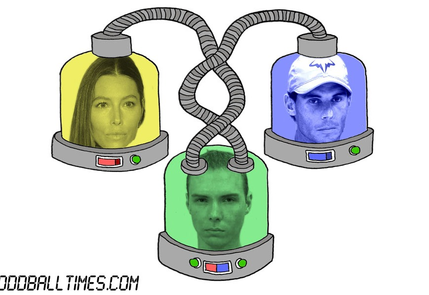 A cartoon of three pods with Jessica Biel, Rafael Nadal, and Luka Magnotta's heads in them. By Oddball Times