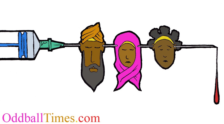 A cartoon of a syringe going through the heads and ears of black and minority ethnic people