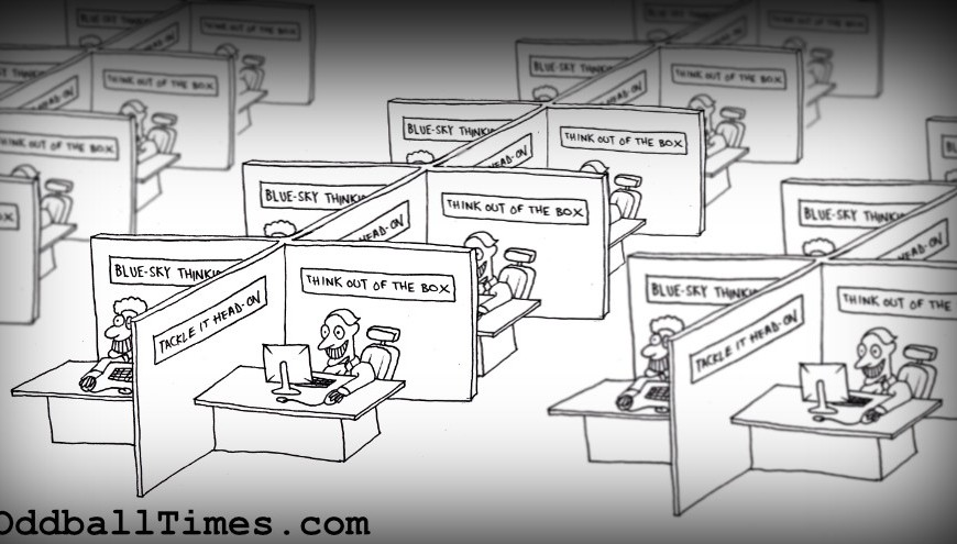 A cartoon of office cubicles with happy workers