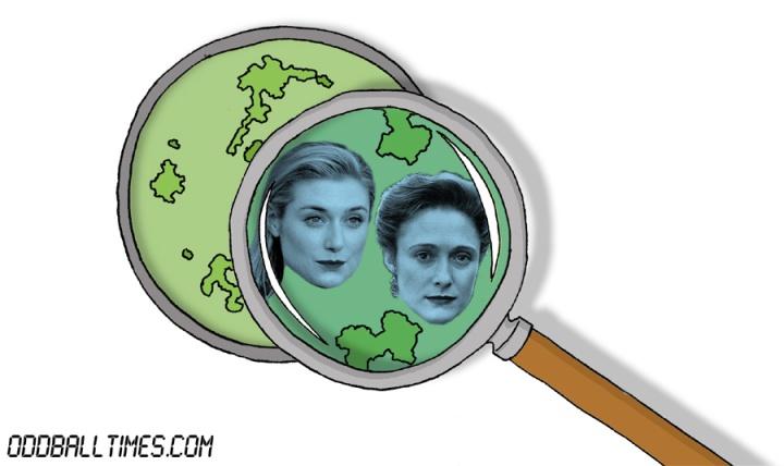 A cartoon of a Petri dish with Elizabeth Debicki and Caroline Goodall inside. By Oddball Times