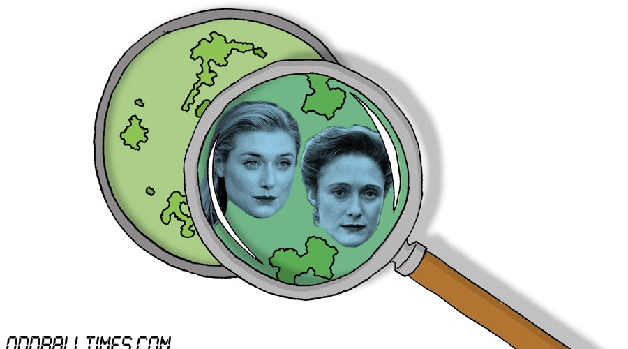 A cartoon of a Petri dish with Elizabeth Debicki and Caroline Goodall inside. By Oddball Times