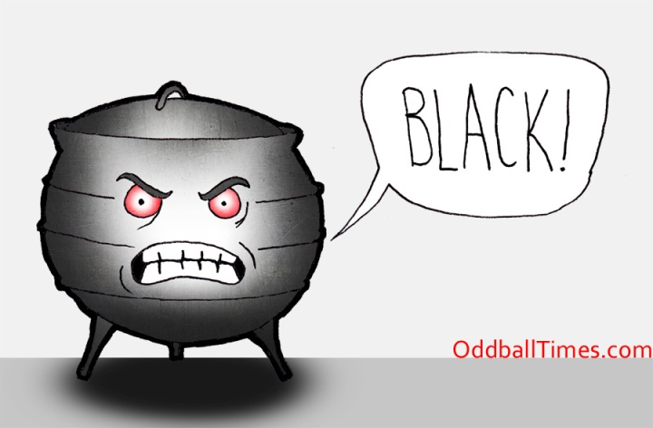 """A cartoon of an angry pot shouting """"black"""""""