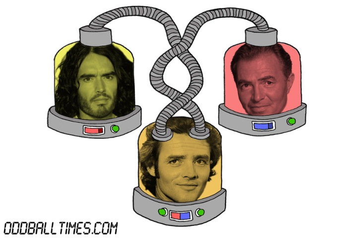 A cartoon of three pods with James Mason, Russell Brand, and Richard Jordan's heads in them. By Oddball Times