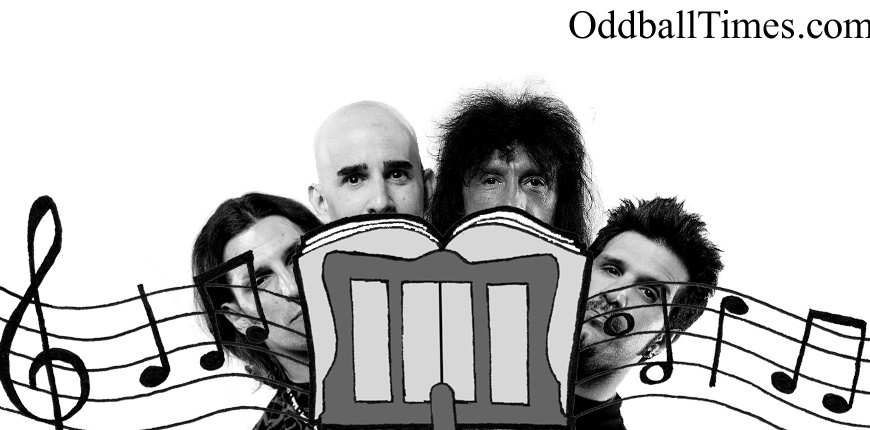 Members of Anthrax hiding behind a music stand. By Oddball Times
