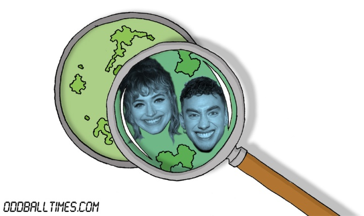 A cartoon of a Petri dish with Imogen Poots and Olly Alexander inside. By Oddball Times