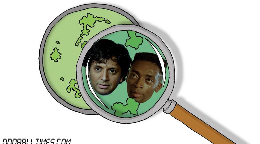 A cartoon of a Petri dish with M. Night Shyamalan and Spike Lee inside. By Oddball Times