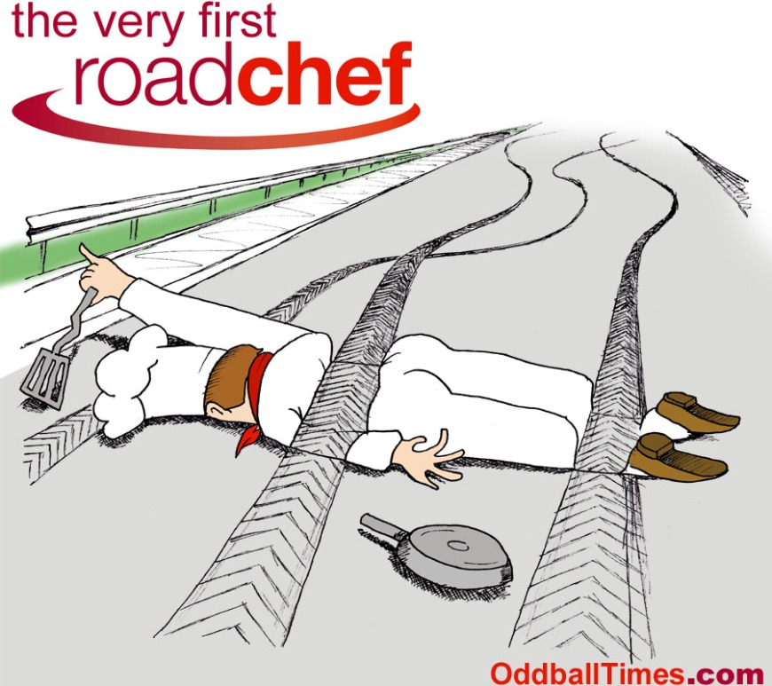 A cartoon of a road chef lying on the motorway run over by passing vehicles