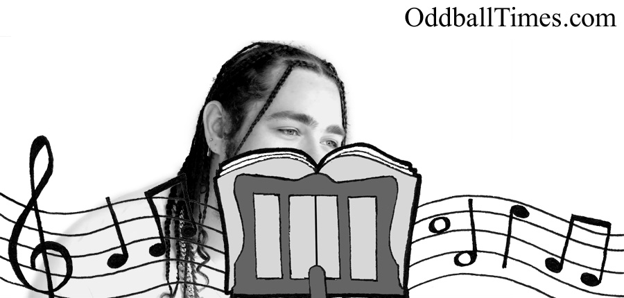 Post Malone hiding behind a music stand. By Oddball Times