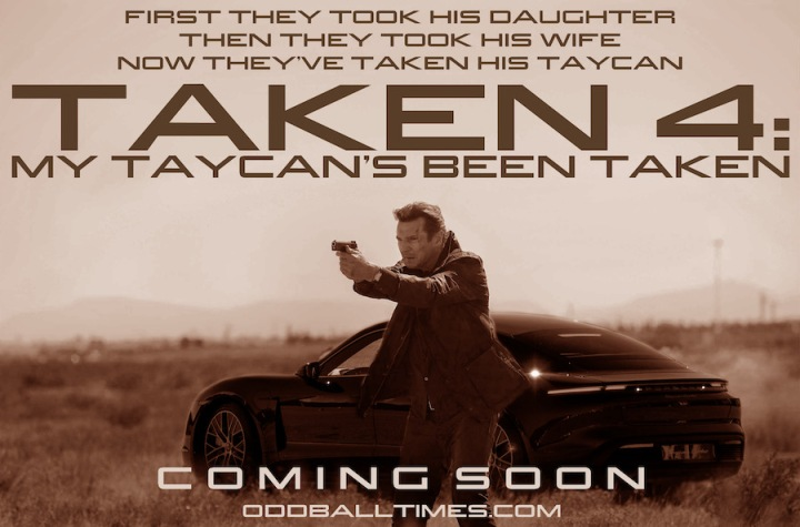 Liam Neeson in Taken 4 standing with a gun in front of a Porsche Taycan