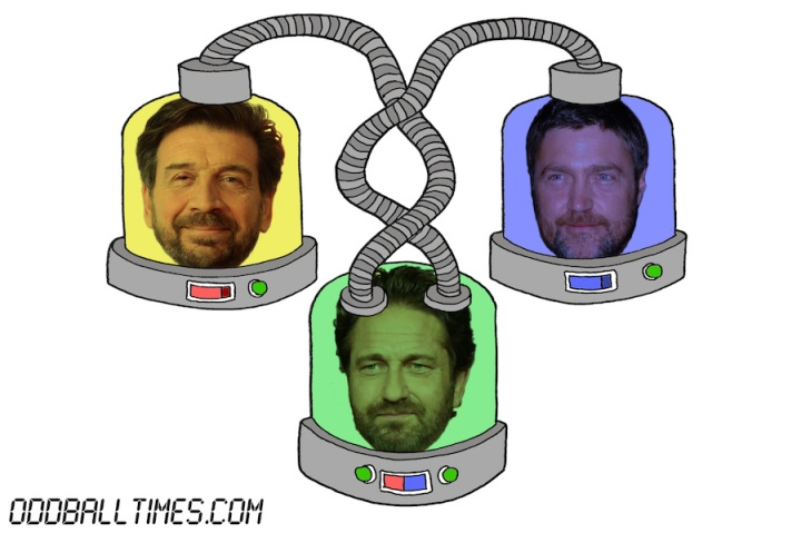 A cartoon of three pods with Gerard Butler, Vincent Reagan, and Nick Knowles' heads in them. By Oddball Times