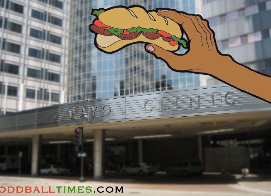 A cartoon of someone holding a sandwich in front of the mayo clinic