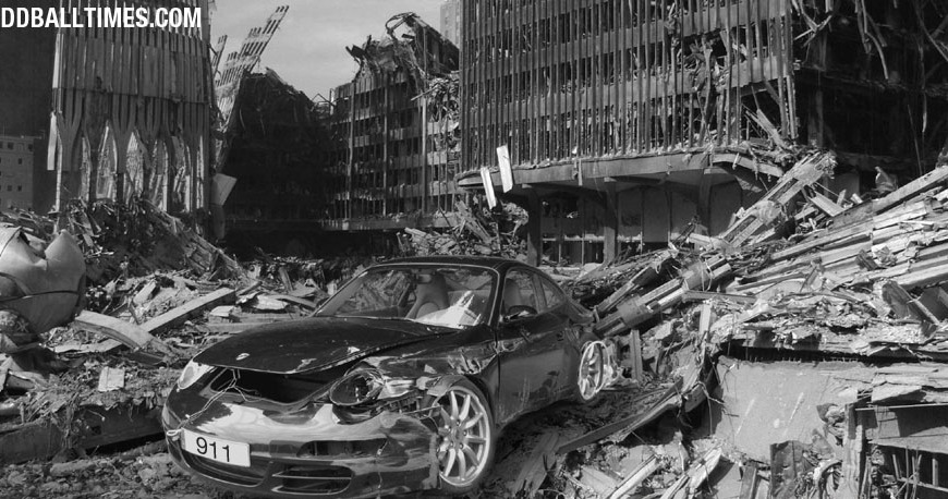 A Porsche 911 in the Twin Towers deris after the September 11th attacks