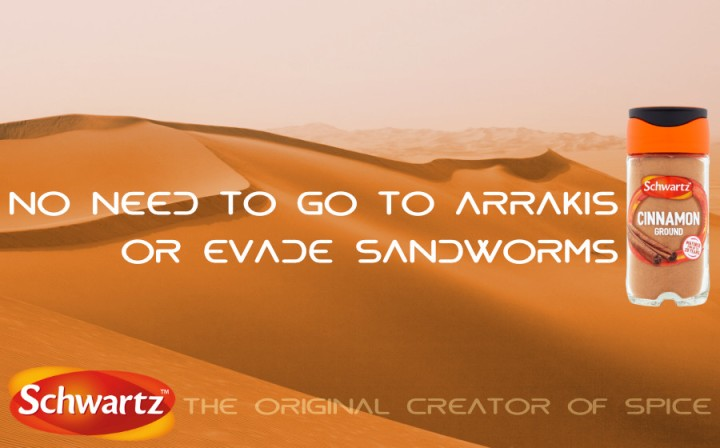 An advertisement for Schwartz Spices and the film Dune (2021)
